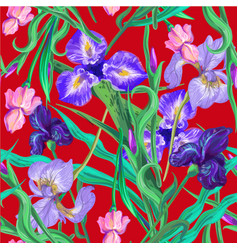 seamless pattern with flowers iris lily vector image