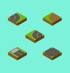 Isometric road set of asphalt strip crossroad vector