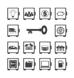 Safe protected icon set vector