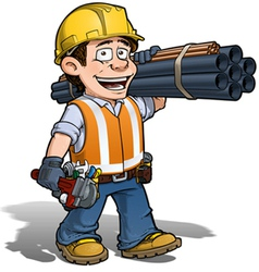 Construction worker plumber vector