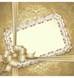 Gift card with lace ribbons vector