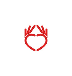 Abstract red heart logo from the hands the mockup vector
