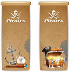 Pirate banner vertical vector