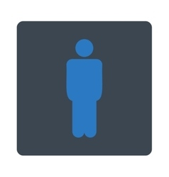 Man flat smooth blue colors rounded button vector