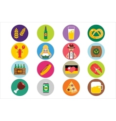 Set of flat oktoberfest icons bottle beer vector
