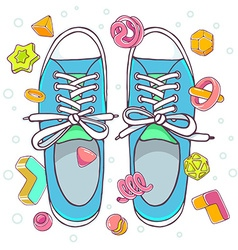 Colorful of blue gumshoes on white backgrou vector