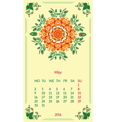 Template calendar 2016 for month may vector