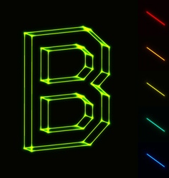 Eps10 glowing wireframe letter b - easy to change vector