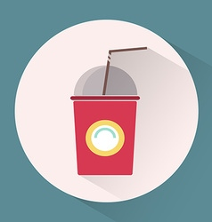 Paper cup with lid and tube colorful round icon vector