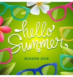 Hello summer green background with sunglasses vector