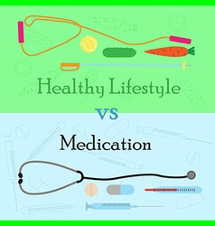 Healthy lifestyle vs medication vector