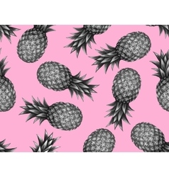 Seamless pattern with pineapples tropical vector