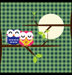 Two cute owls on the tree branch vector image