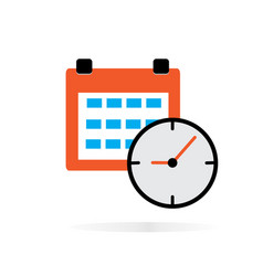 calendar clock icon on white background calendar vector image vector image