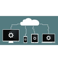 Cloud computing devices connect to cloud vector