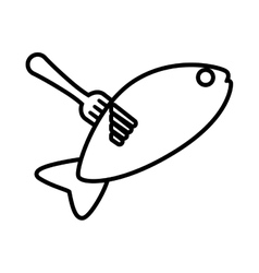 Drawing fish food on fork icon vector