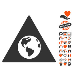Earth warning icon with dating bonus vector