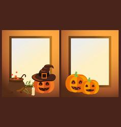 Empty halloween photo frames with ripe pumpkins vector