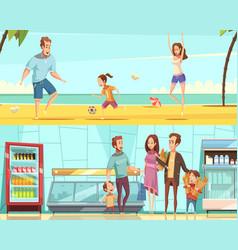 family horizontal cartoon banners vector image vector image