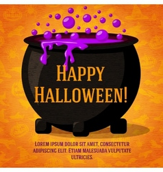 Happy halloween cute retro banner on craft paper vector