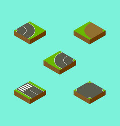 Isometric road set of asphalt strip crossroad vector