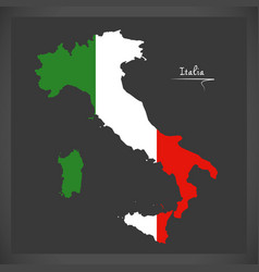 Italy map with italian national flag vector