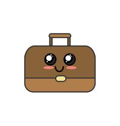 Kawaii cute happy briefcase icon vector