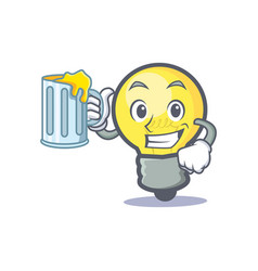 light bulb character cartoon with juice vector image