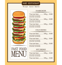 Menu for fast food vector