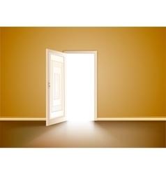 Opened wood door vector