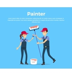 Painter Concept in Flat Style Design vector image vector image