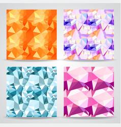 Polygonal background seamless patterns set vector