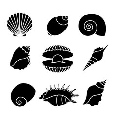 sea shells silhouettes isolated on white vector image vector image