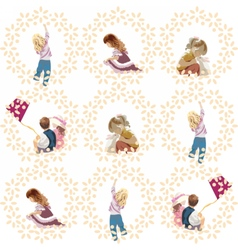 Set of children playing and having fun vector