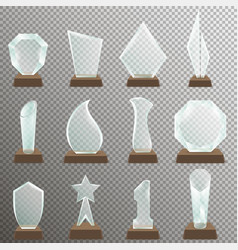 set of glass transparent trophy awards vector image vector image