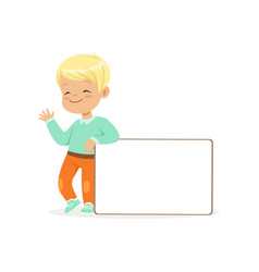 sweet boy character standing with white empty vector image