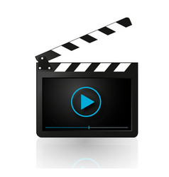 video player on movie clapper vector image vector image