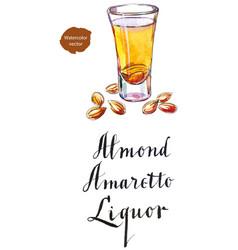 Wineglass of almond liquor amaretto vector