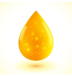Yellow liquid drop isolated on white vector