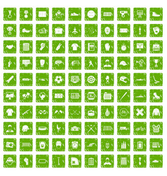 100 mens team icons set grunge green vector image vector image