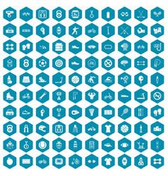100 sport icons sapphirine violet vector image vector image