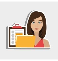 Woman clipboard folder file vector