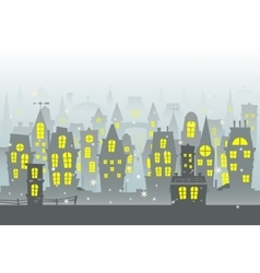 Winter city urban landscape with snow vector image