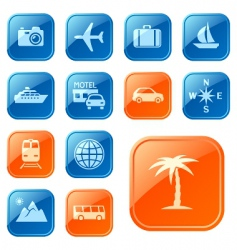 Travel icons buttons vector