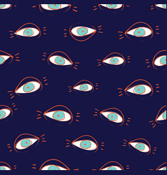 Seamless pattern design with sketchy open eyes vector