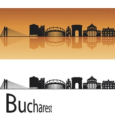 Bucharest skyline in orange background vector image