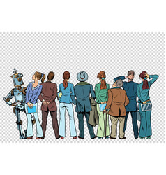 retro group of businessmen and businesswomen with vector image