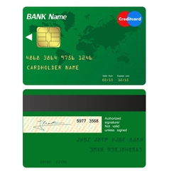 Front and back of credit card vector