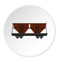 Freight railroad car icon circle vector