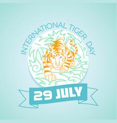29 july international tiger day vector